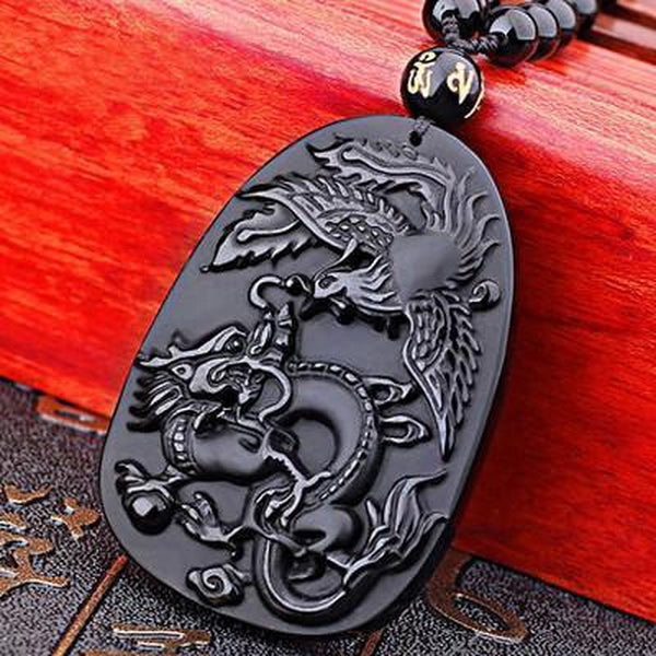Obsidian Dragon & Phoenix Necklace - Empire of the Gods