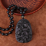 Obsidian Stone Carved Dragon and Phoenix Lucky Pendant Necklace