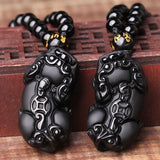 Obsidian Tiny Foo Dog Guardian Necklace - Empire of the Gods