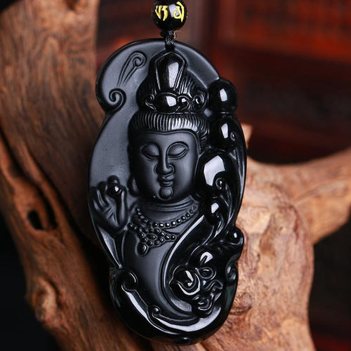 Obsidian Guan-Yin Buddha Necklace - Empire of the Gods