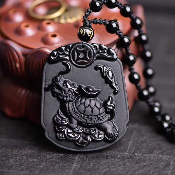 Obsidian Tortoise Necklace - Empire of the Gods