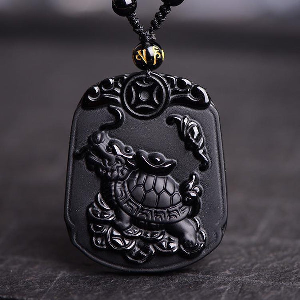 Obsidian Stone Black Tortoise Dragon Lucky Pendant Necklace - Empire of the Gods