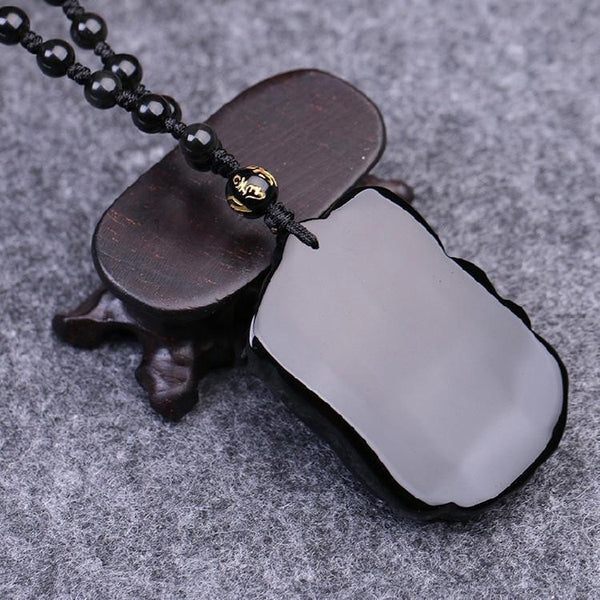 Obsidian Stone Elephant Lucky Pendant Necklace