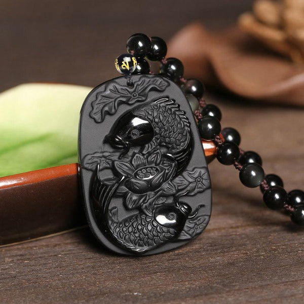 Obsidian Stone Two Koi Fishes Pendant Necklace - Empire of the Gods
