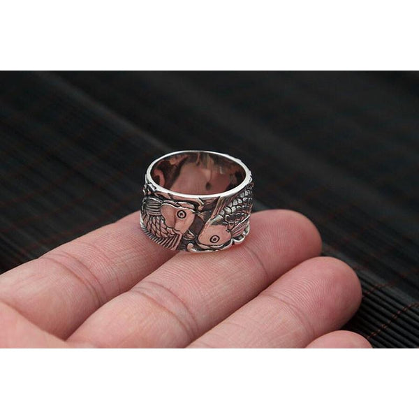 925 Sterling Silver Twin Koi Fishes Ring - Empire of the Gods