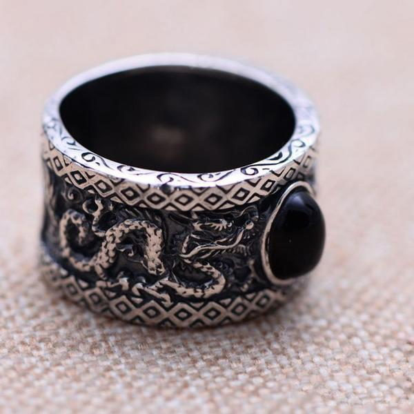 925 Sterling Silver Black Onyx Dragons Ring