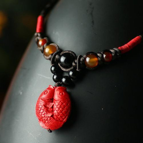 Two Red Koi Fishes Black Agate Necklace - Empire of the Gods