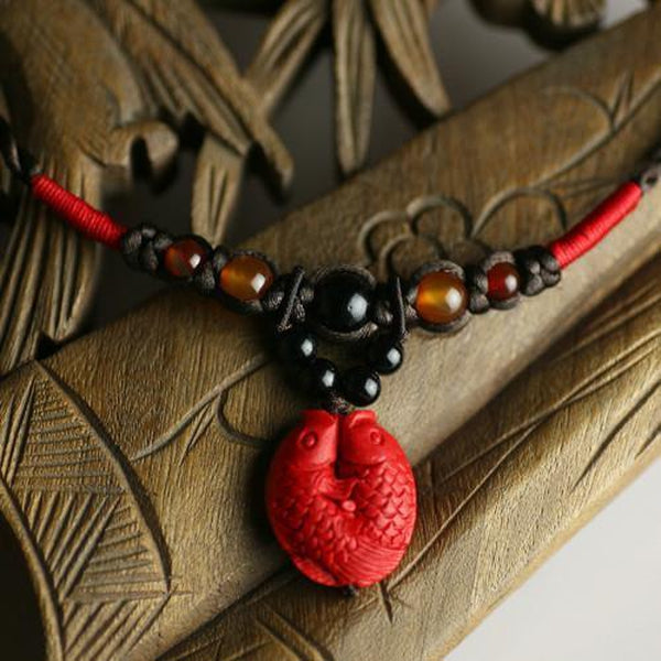 Two Red Koi Fishes Black Agate Necklace