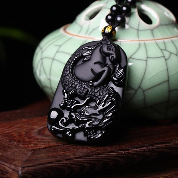 Obsidian Dragon & Horse Necklace - Empire of the Gods
