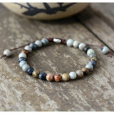 Natural Grey & Black Jasper Stones Bracelet - Empire of the Gods