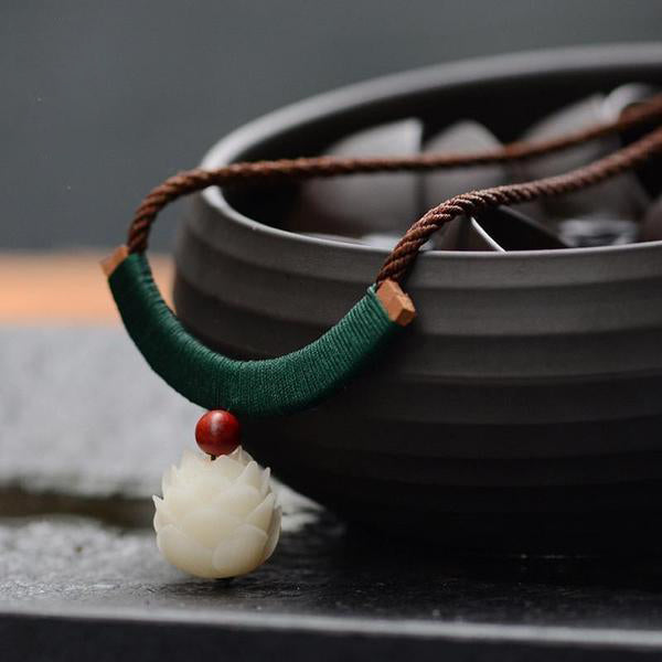 White Jade Lotus Flower Necklace - Empire of the Gods