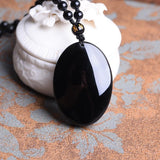 Natural Obsidian Stone Carved Guan-Yin Head Pendant Necklace - Empire of the Gods