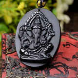 Obsidian Ganesha Necklace - Empire of the Gods