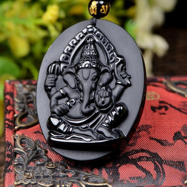 Natural Obsidian Carved Ganesha Pendant Necklace - Empire of the Gods