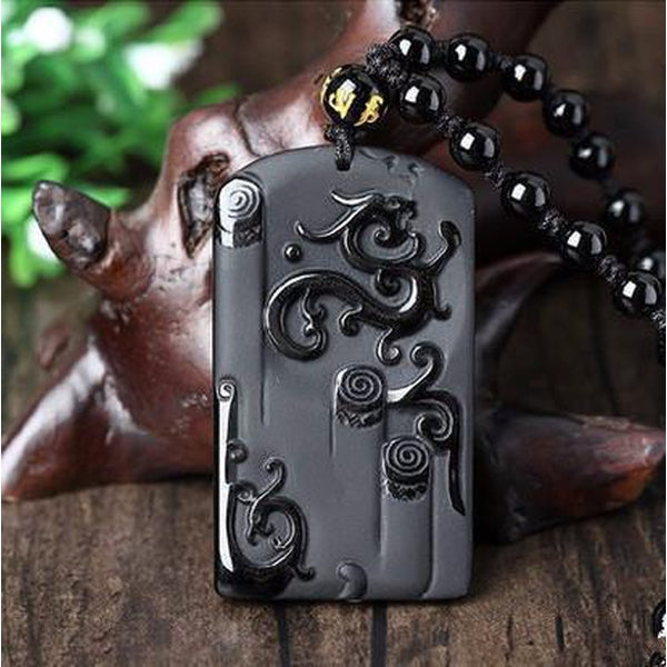 Natural Obsidian Stone Carved Ryujin Dragon Pendant Necklace