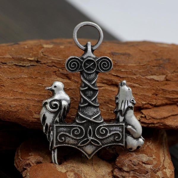 Wolf and Raven Mjolnir Necklace - Empire of the Gods