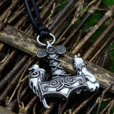 Norse Thor's Hammer Mjon wolf and Raven Pendant Necklace