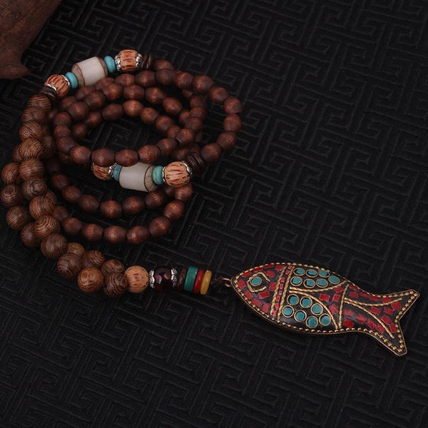 Handmade Ethnic Wenge & Gemstones Fish Pendant Necklace - Empire of the Gods