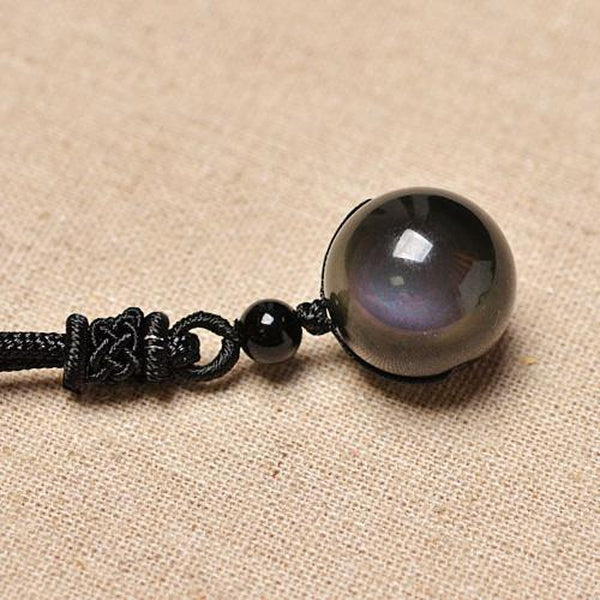 Black Obsidian Rainbow Eye Ball Pendant Necklace