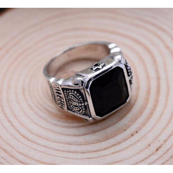 925 Sterling Silver Crowns Onyx Ring - Empire of the Gods