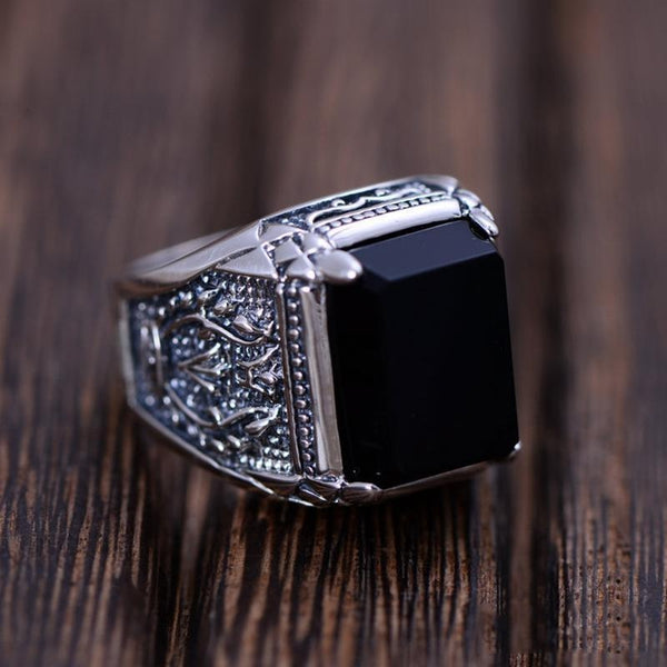 925 Sterling Silver Obsidian Ring - Empire of the Gods
