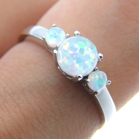 Heart Cut Rainbow Opal Ring