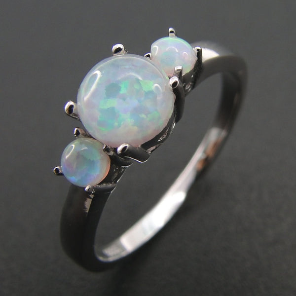 925 Sterling Silver White Opal Ring - Empire of the Gods