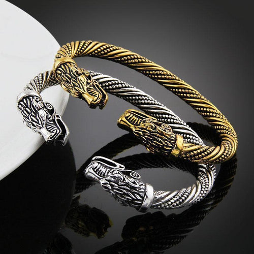 Wolf Head Fenrir Viking Bracelet - Empire of the Gods