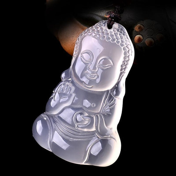 White Chalcedony Baby Buddha Pendant Necklace - Empire of the Gods