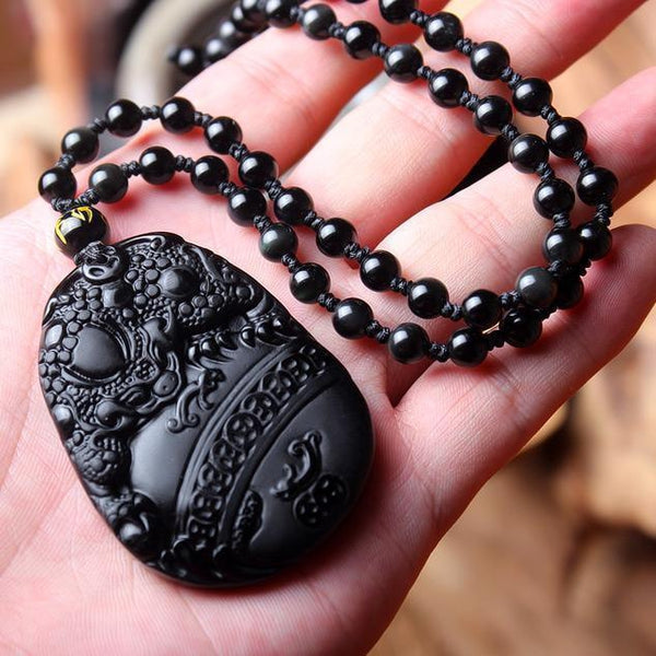 Natural Black Obsidian Carved Lucky Toad Pendant Necklace - Empire of the Gods