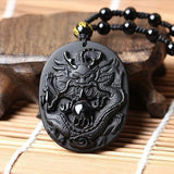 Obsidian Sun Dragon Necklace - Empire of the Gods