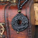 Black Obsidian Carved Dragon Circle Pendant Necklace