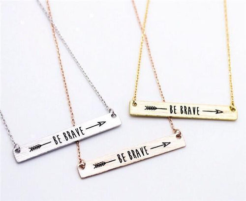 """Be Brave"" Arrow Bar Necklace - Empire of the Gods"