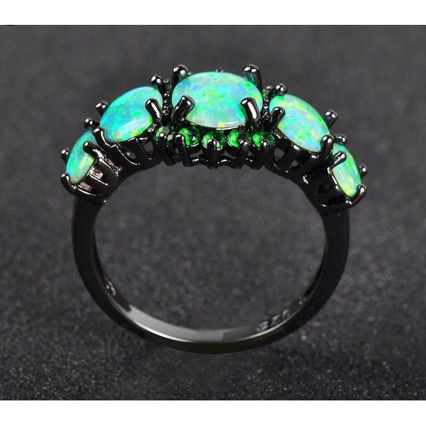 Green Fire Opal Ring - Empire of the Gods