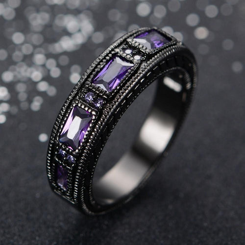 Elegant Amethyst Titanium Ring - Empire of the Gods