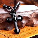 Obsidian Cross Necklace - Empire of the Gods