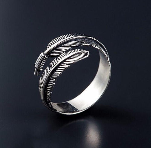 Vintage 925 Sterling Silver Feather Ring - Empire of the Gods