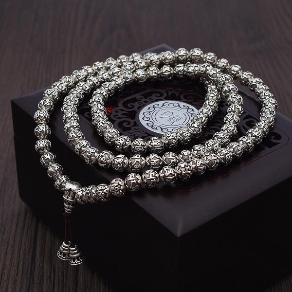 Silver Mantra Prayer Beads - Empire of the Gods