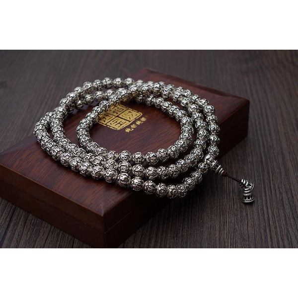 Silver Mantra Prayer Beads