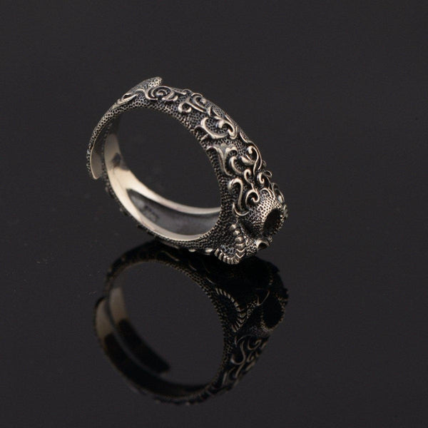 925 Sterling Silver Ancient Skull Ring - Empire of the Gods