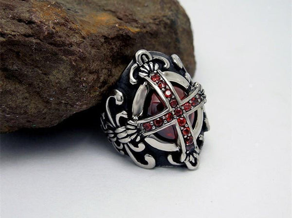Titanium Vintage Ruby Templar Ring - Empire of the Gods