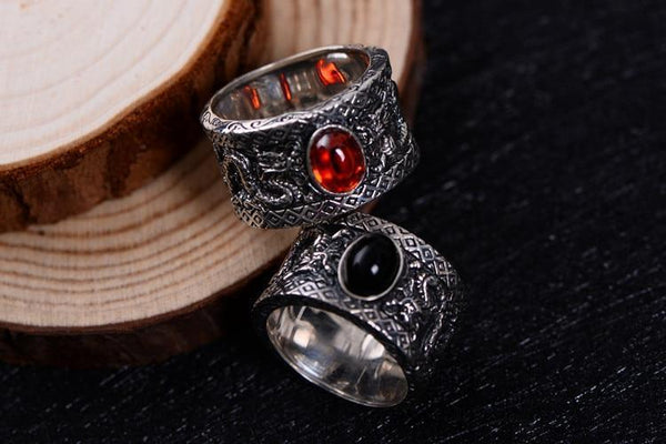 925 Sterling Silver Onyx Dragons Ring - Empire of the Gods