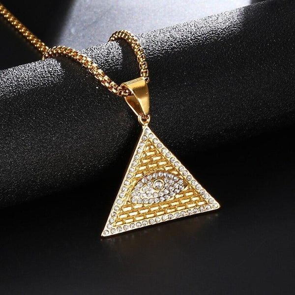 Egyptian Eye of Horus Pyramid Pendant Necklace - Empire of the Gods
