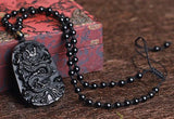 Obsidian Japanese Dragon Necklace - Empire of the Gods