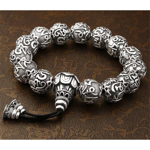 Silver Buddha Beads Bracelet - Empire of the Gods