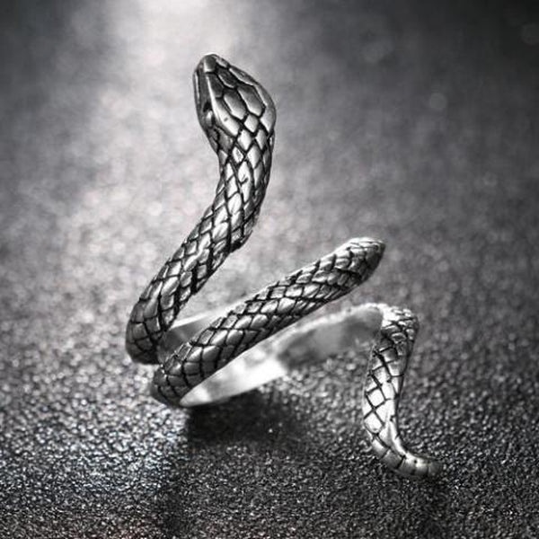 Antique Silver Vintage Snake Ring - Empire of the Gods