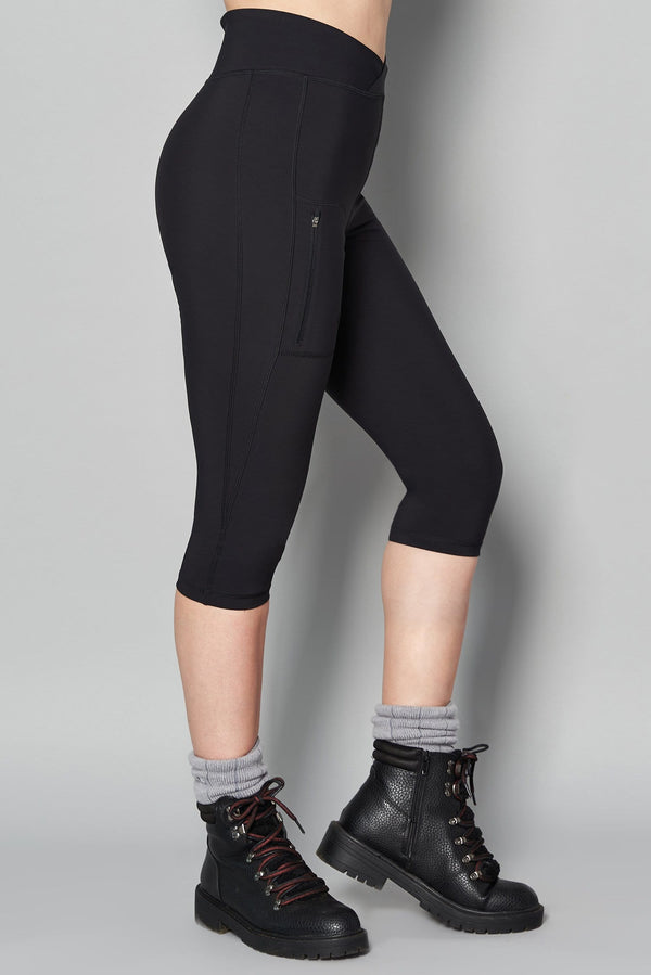 Outdoor Softshell Capri Leggings - Black - ACAI Activewear