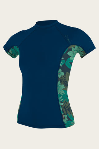 O'Neill - Women'S Side Print L/S Rash Guard Short Sleeve - Abyss/Faro