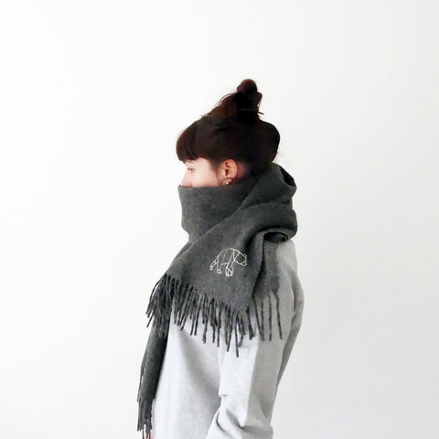 Dark grey merino wool scarf
