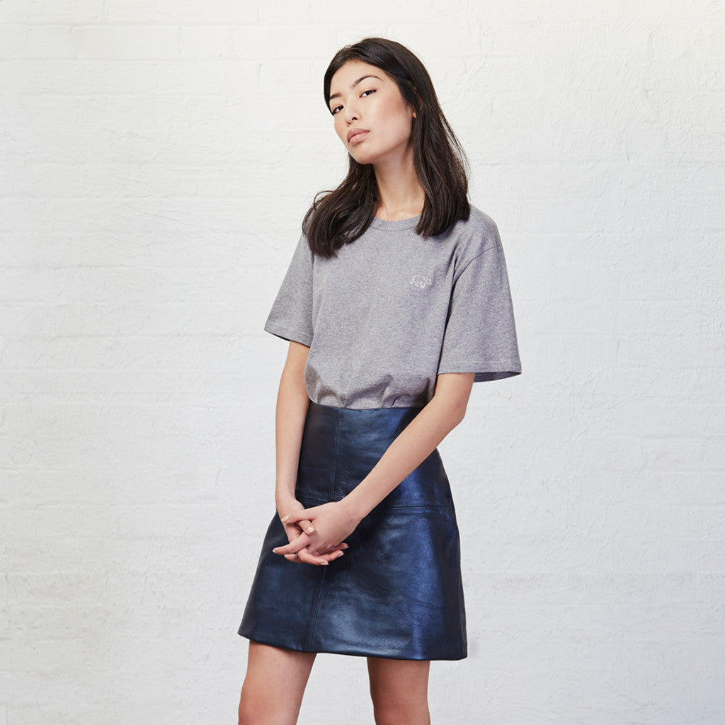 Petrol Leather Mini Skirt